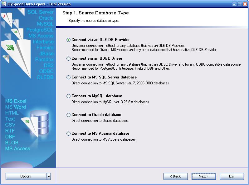 FlySpeed Data Export Help - Step 1  Source database type