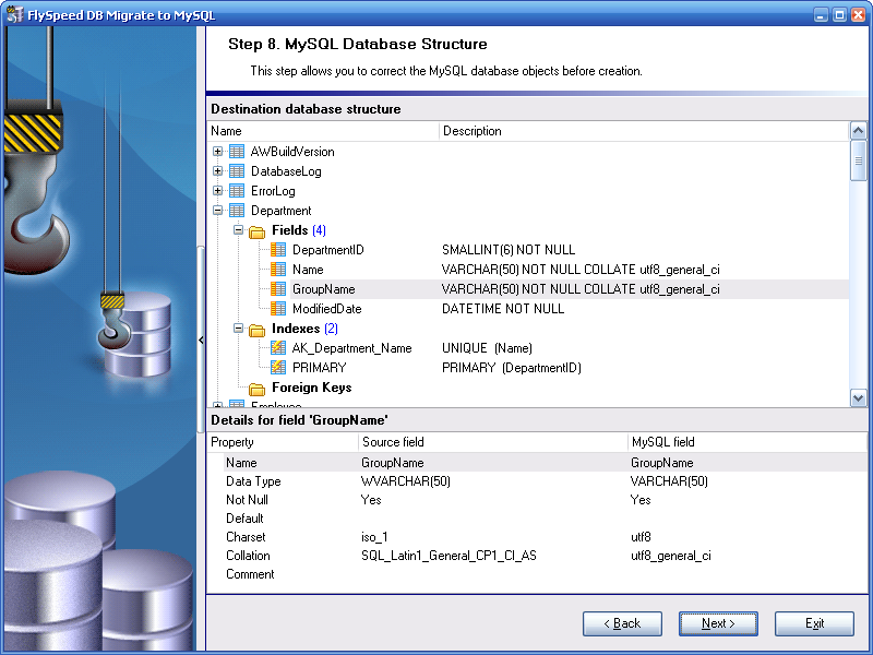 FlySpeed DB Migrate to MySQL - Fine Tuning of Result Database Structure