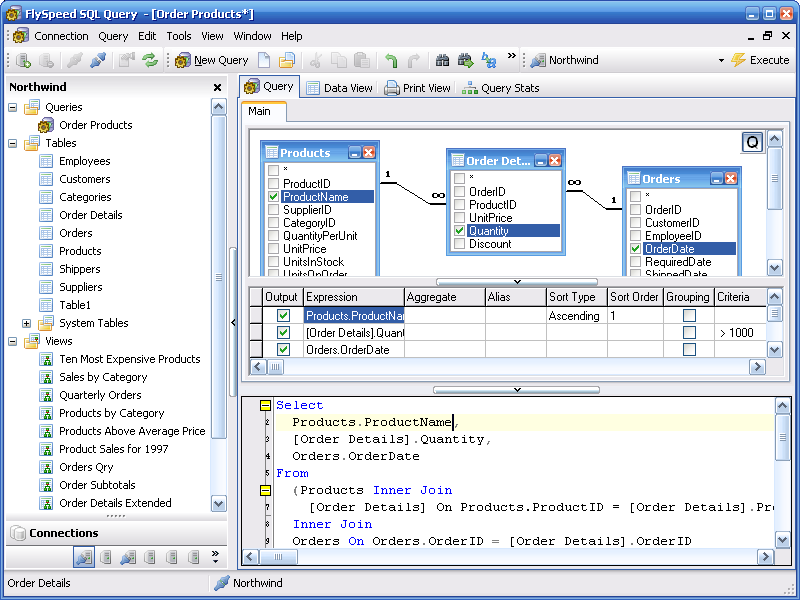 Flyspeed sql query combined visual query building and for Sql table design query